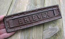 Antique reclaimed Dutch Brieven brass letter box plate / mail slot