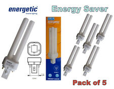 5 x Energetic 13w G24d-1 2-polig Niedrige Energie Leuchtstoff Glühbirnen Kühl