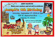 JAKE AND THE NEVERLAND PIRATES BIRTHDAY INVITATIONS DESIGN w/photo