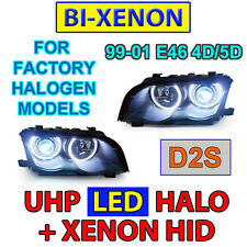 4 HALOGEN MODELS DEPO 99-01 BMW E46 4D/5D LED ANGEL HALO Bi-Xenon D2S HEADLIGHTS