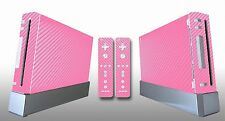 Pink Carbon Fiber Skin Sticker Cover For Nintendo Wii Console and 2 Remotes