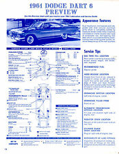 1961 DODGE DART 6 CYL 1961 DE SOTO 61 PREVIEW LUBE LUBRICATION CHARTS & PICTURES