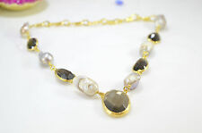 Ottomam Gems semi precious stone gold necklace choker Pearl Smoky quartz