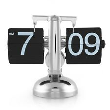 Retro Digital Auto Flip Desk Clock Down Metal Single Stand Table 12 Hour