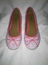 Girls Monsoon Pink Blue White Party Glitter Ballerina Slip On Shoes 13UK 32Euro