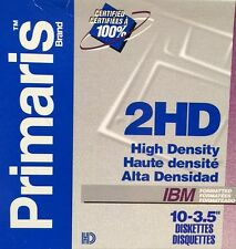 """New PRIMARIS 3.5"""" FLOPPY DISKS 2HD IBM PC MS-DOS FORMATTED 10 PACK DOUBLE SIDED"""