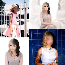 Melanie Martinez Ombre Blonde and Black Short Hair Wavy Cosplay Wigs+ Wig cap
