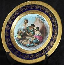 Veritable LIMOGES France Cobalt Gold MURILLO BEGGAR BOYS PLAYING DICE 10' Plate