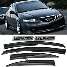 For 04-08 Acura TSX Mugen Style Smoke TintedWindow Visors Rain Guards + EMBLEMS
