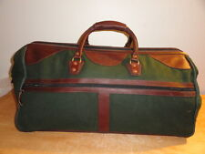 JW HULME CO Green Canvas & Leather Trim Huge Weekender Luggage/Duffle/Travel Bag