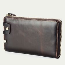 Retro Men's Handbag Genuine Leather Checkbook Cards Holder Zipper Clutch Wallet