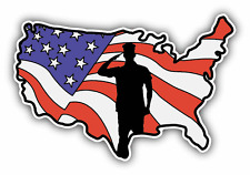 "Salute USA Flag Map Military Car Bumper Sticker Decal 5"" x 4"""