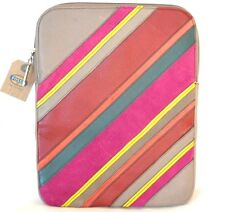 NEW FOSSIL TAUPE BROWN LEATHER STRIPE PERFECT PW iPAD,TABLET CASE+COVER+SLEEVE