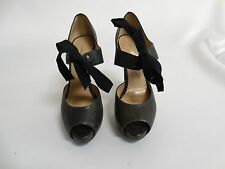 Emporio Armani Gray Peep Toe Mary Jane Heels Shoes Size 36 / 6
