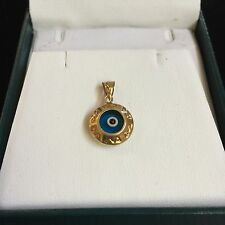 Modernist Designer Signed 14k Yellow Gold Evil Eye Lucky Protect Pendant