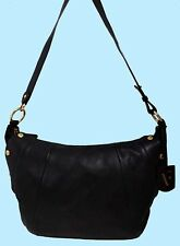 FURLA ELISABETH Pebbled Onyx Black Leather Shoulder Bag Msrp $598 *FREE SHIPPING