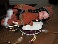 ADORABLE Porcelain Native American Doll Traditional Indian Girl Sleeping on Drum
