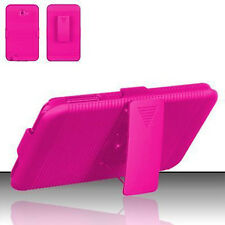 For Samsung Galaxy Note COMBO Belt Clip Holster Case Cover Kick Stand Hot Pink
