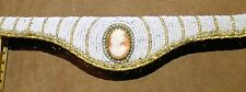 Vintage Gold-tone BEADED CAMEO FRAME for Purse, White & Gold Beads Around Cameo