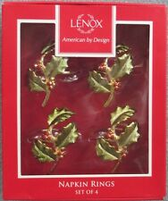 Set 4 Lenox Holiday Holly Berries Gold Napkin Rings NIB