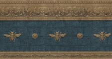 Wallpaper Border Architectural Molding Empire Napoleonic Bees On Faux Blue Croc