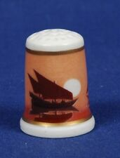 TCC La Seynie Porcelaines 'Ships At Sunset'  Limoges China Thimble B/98