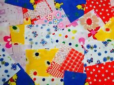 "100 x 4"" Fabric Remnant Bundle patchwork squares~Children's  Collection~Craft"