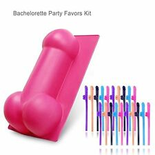 Bachelorette Party Naughty Shaped Cake Silicone Mold + 20pc Penis Sipping Straws