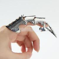 Silver Knuckle Armour Joint Full Finger 2 Ring Claw Tip Cosplay Punk Rock