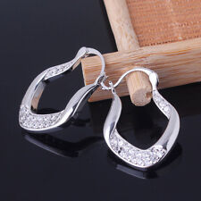 Distinguish 18k white gold filled white topaz vogue lady party hoop earring