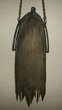 Antique~Vint~1920's WHITING DAVIS Gold Soldered Mesh Chain Wrist Strap Bag~WOW !