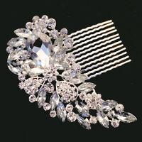 SILVER BRIDAL WEDDING CRYSTAL DIAMANTE HAIR COMB CLIP SLIDE TIARA FASCINATOR SC1