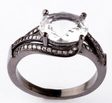 Jewelry Size8 white CZ Fashion Black 18K Gold Filled Rings 2.26ct BB68