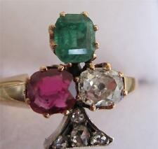 Superb Victorian Ruby Emerald Diamond rose diamond Irish lucky 18ct clover ring