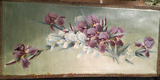 French antique original hand painted oil on canvas white purple irises late 1800