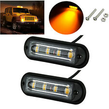 2x Amber 4 LED Car Truck Emergency Beacon Flash Light Bar Hazard Strobe Warning