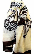 NEW Cream&Brown Large Zebra Animal Print  Maxi Scarf Stole Sarong Wrap Fast Ship