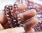 48pcs 6x8mm Faceted Rondelle Cut Glass Crystal Loose Spacer Beads purple