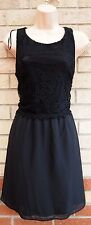 G21 FLORAL CROCHET LACE BLACK CHIFFON SKATER RUFFLE PARTY TEA A LINE DRESS 12 M