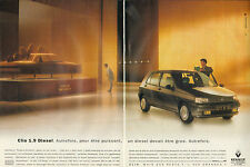 Publicité Advertising 1993  (Double page)  RENAULT CLIO 1.9 Diesel