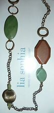 "NWT - LIA SOPHIA ""OUTBACK"" NECKLACE - AVENTURINE/WOOD/GLASS & RESIN BEADS - $88"