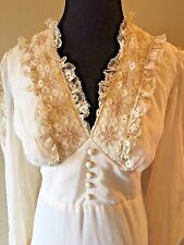 Vintage 1970s Ivory Lace Prairie Edwardian Look Wedding Maxi Dress size S/M DS5