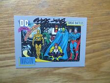 1991 DC COSMIC ALIEN INVASION VS JLA CARD SIGNED BART SEARS ART,WITH POA