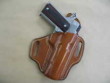 "Cimarron 5 "" 1911 A1 OWB Leather 2 Slot Molded Pancake Belt Holster CCW TAN RH"