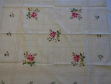 """Vintage Pink Rose Cross Stitch Hand Embroidered Bridge Tablecloth 32"""" x 32"""""""