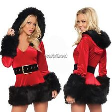 Women Sexy Santa Christmas Costume Fancy Dress Xmas Office Party Outfit WST