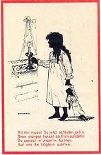 Mädchen mit Puppe, Scherenschnitt AK, um 1920/30