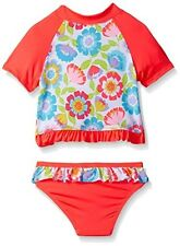 Wippette Pink Floral Rash Guard Two-Piece Swimsuit Infant Baby Girl 24 Months