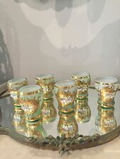 VINTAGE HAND DECORATED 18K GOLD VENETIAN MURANO GLASS SET OF 6 DRINKING CORDIAL