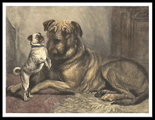 MASTIFF AND CUTE PUG DOG ON GREAT VINTAGE STYLE DOG PRINT POSTER